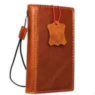 Genuine vintage leather case for iphone 8 book wallet cover credit cards id slots classic bright brown business slim daviscase
