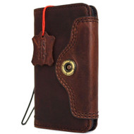 Genuine real natural  leather slim case for iPhone 8 cover book wallet credit card  luxurey flip slim magnetic RFID Pay Art