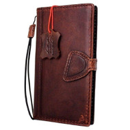 Genuine Italian oiled  leather slim case for iPhone 8 cover book wallet credit card  luxury flip slim magnetic RFID Pay Art