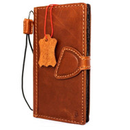 Genuine vintage leather case for iphone 8 cover book wallet credit card id magnet business slim eu