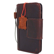 genuine italian oiled  leather slim case for iphone 8 cover book wallet credit card  luxurey flip slim magnetic RFID Pay