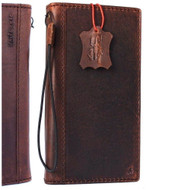 genuine real leather Case for Oppo R11 Plus book wallet cover Cards slots hand made slim dark brown Daviscase
