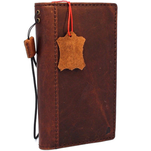 Genuine vintae leather case for LG V30 book cards wallet slim cover brown thin