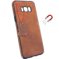 Genuine leather Case for Samsung Galaxy S8 Plus cover slots iholder magnetic vintage brown Daviscase