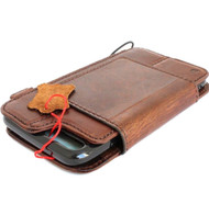 Genuine vintage leather case for iphone 8 plus cover Detachable book wallet credit card id Removable magnetic brown davis
