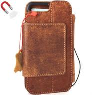 Genuine leather Case f iPhone 8 Plus book wallet cover detachabl magnetic holder vintage style daviscase