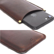 genuine leather Case for apple iphone 8 plus thin cover slim holder classic brown Daviscase