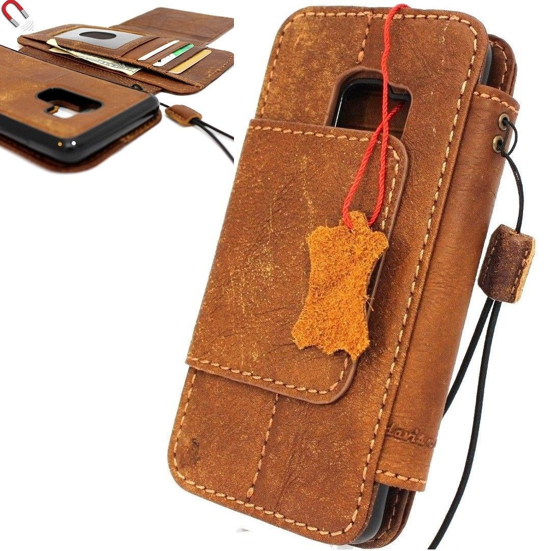 best service 41c64 00894 Genuine real leather Case for Samsung Galaxy S9 Plus Magnetic holder  Removable vintage light brown daviscase