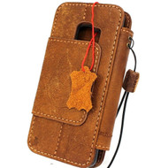 Genuine real leather Case for Samsung Galaxy S9 Magnetic holder Removable vintage light Tan brown daviscase