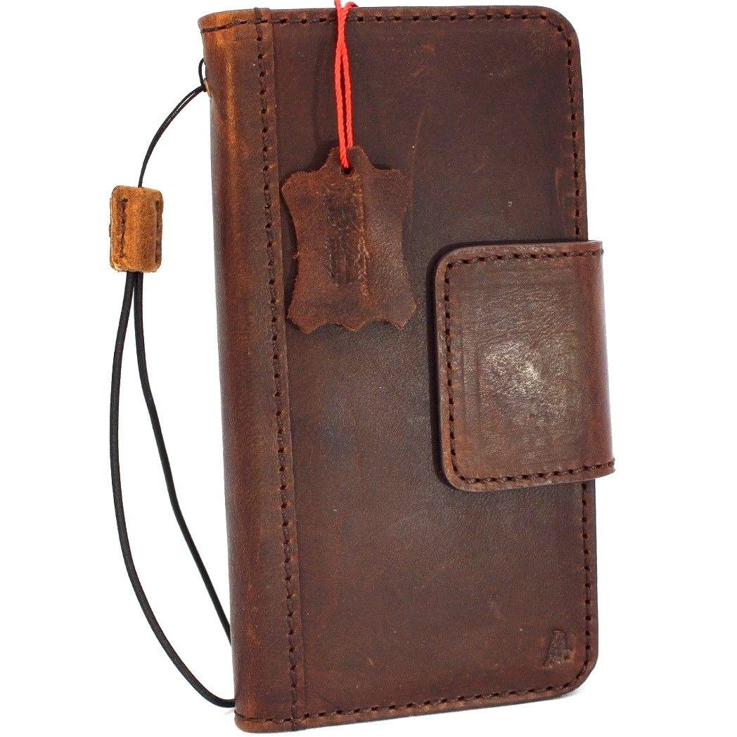 online store f4b85 8faef Genuine Tan vintage leather case for samsung galaxy s9 plus book wallet  luxury magnetic cover slim Holder Daviscase