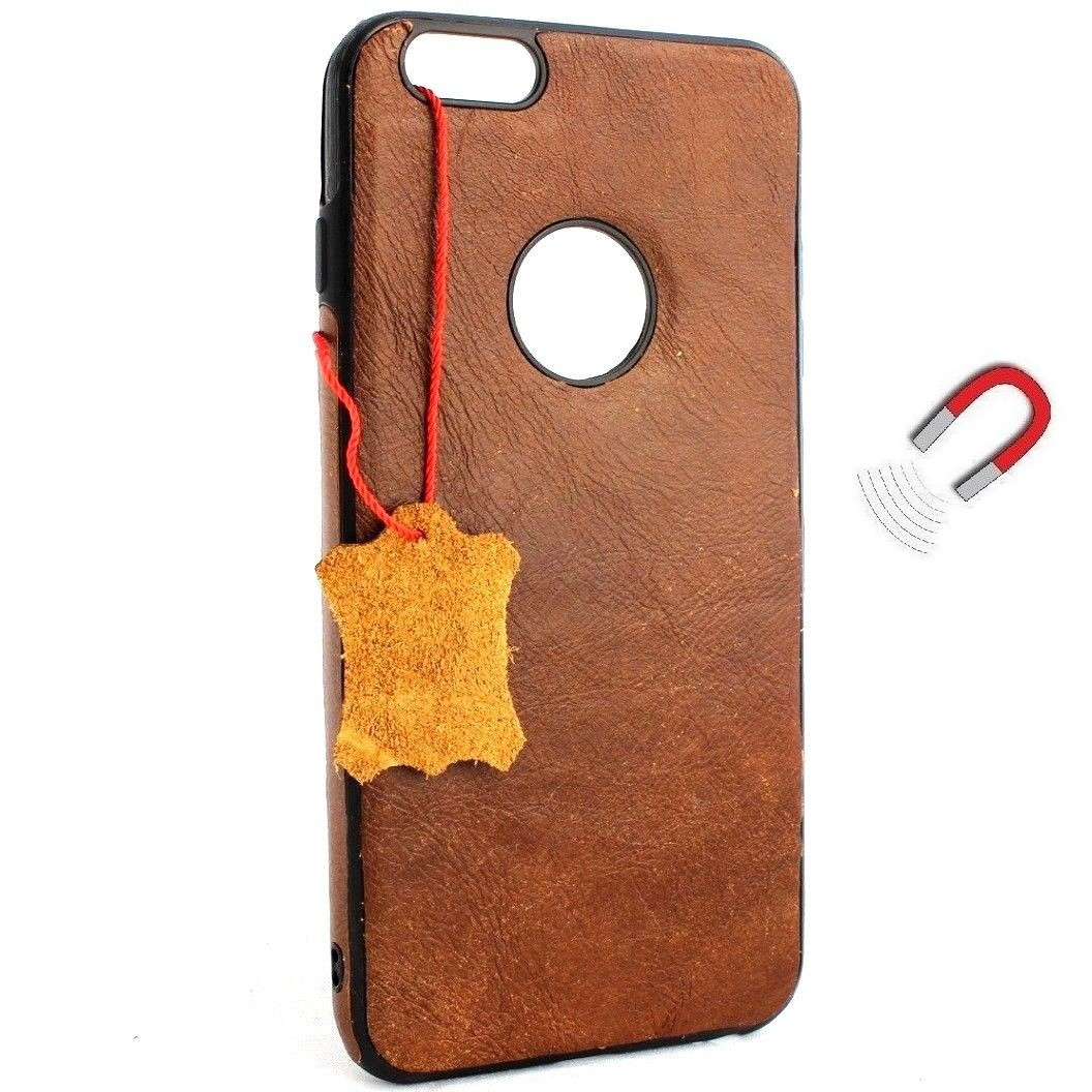 the latest 1243f 22161 Genuine Leather Case for iPhone 8 Plus book wallet magnetic rubber cover  Slim vintage brown classic Daviscase