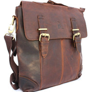 Genuine vintage leather men messenger shoulder bag  handbag cowhide tote cross body 13 14 10 oiled italian Jafo