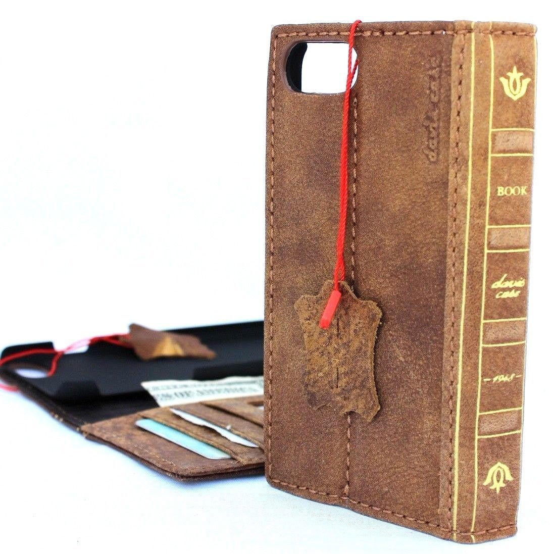 reputable site 6deac 47f14 Genuine Leather Case for iPhone 8 Plus bible book wallet cover id window  cards slots Slim holder Jafo vintage brown classic Daviscase