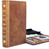 Genuine Leather Case for iPhone 8 Plus bible book wallet cover id window cards slots Slim holder Jafo vintage brown classic jafo ch