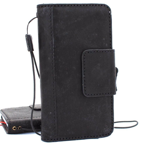 Genuine oiled vintage leather Case for Google Pixel XL 2 book wallet luxury magnetic cover pro JP black Jafo