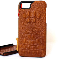 Genuine vintage leather case for iphone 8 plus crocodile design hard cover luxury bright brown slim flip RFID Pay PREMIUM  lite daviscase