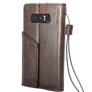 Genuine vintage leather case for Samsung Galaxy Note 8 book wallet magnetic closure cover luxury cards slots classic holder Daviscase
