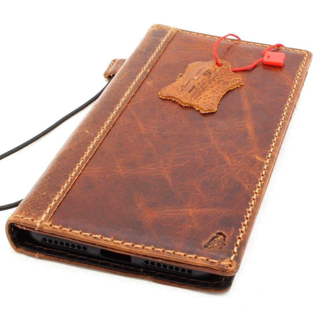 check out de6fe 1f4c4 Genuine Leather Case for iPhone 8 Plus bible book wallet cover handmade  cards slots Slim holder Jafo vintage classic Daviscase