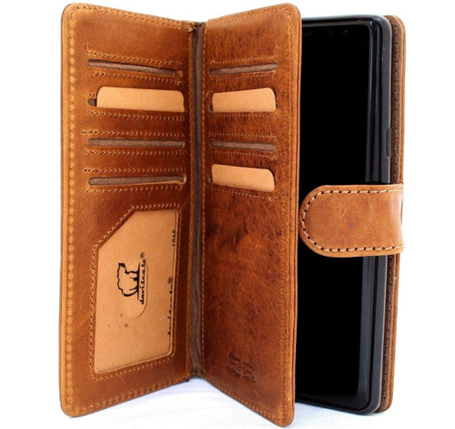 Genuine vintage leather case for samsung galaxy note 9 detachable book wallet cover soft holder cards slots daviscase PRO