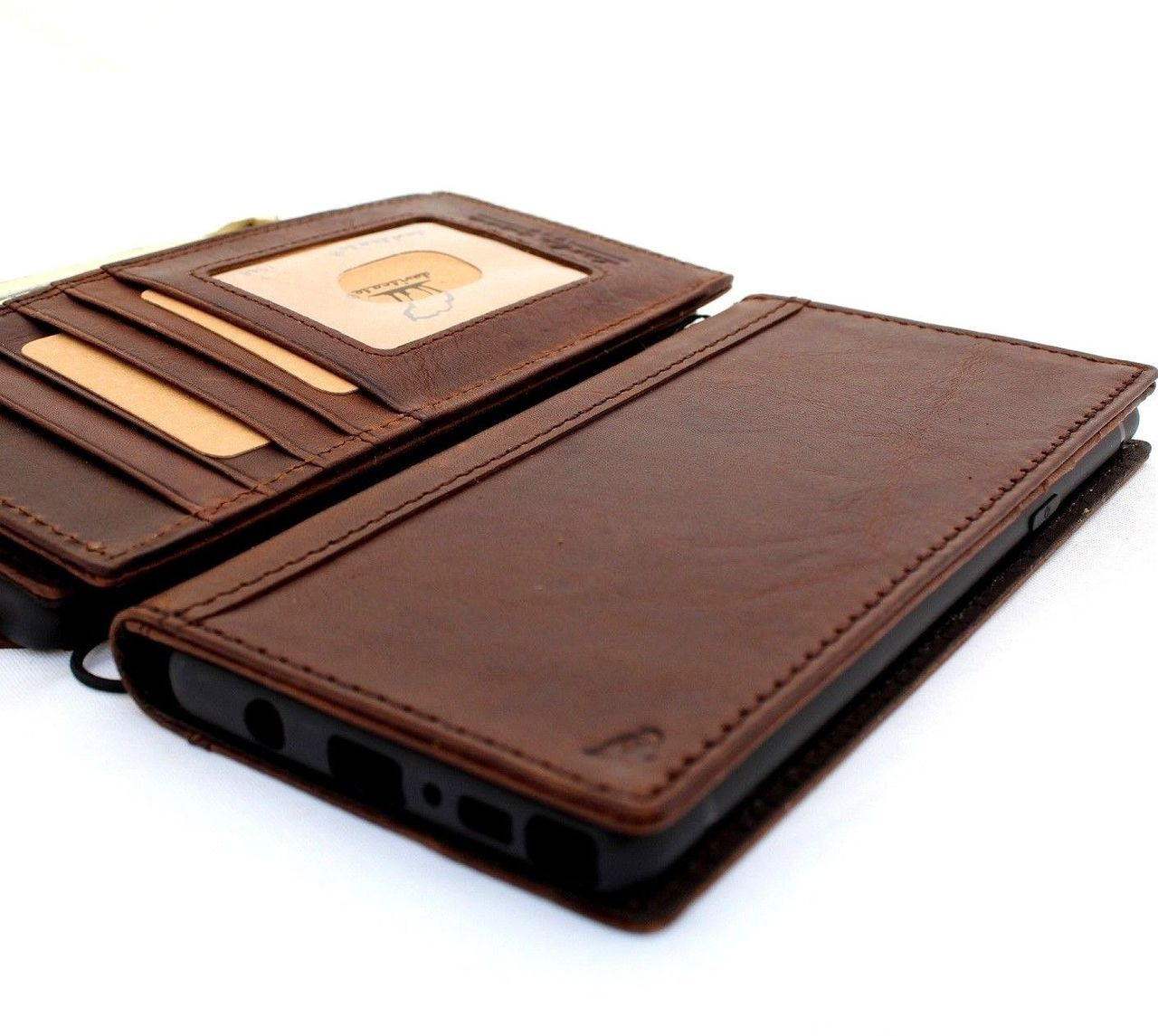 low priced da294 33cb4 Genuine leather case for Samsung Galaxy Note 9 book wallet handmade cover  slim vintage brown cards slots Daviscase ready Wireless charging