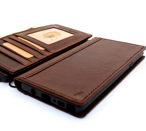 Genuine leather case for Samsung Galaxy Note 9 book wallet handmade cover slim vintage brown cards slots Daviscase ready Wireless charging DE