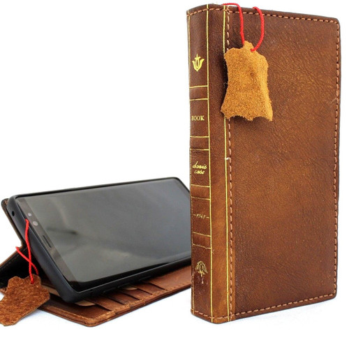 Genuine vintage leather case for samsung galaxy note 9 book bible wallet cover soft vintage Tan brown cards slots IL slim daviscase UK