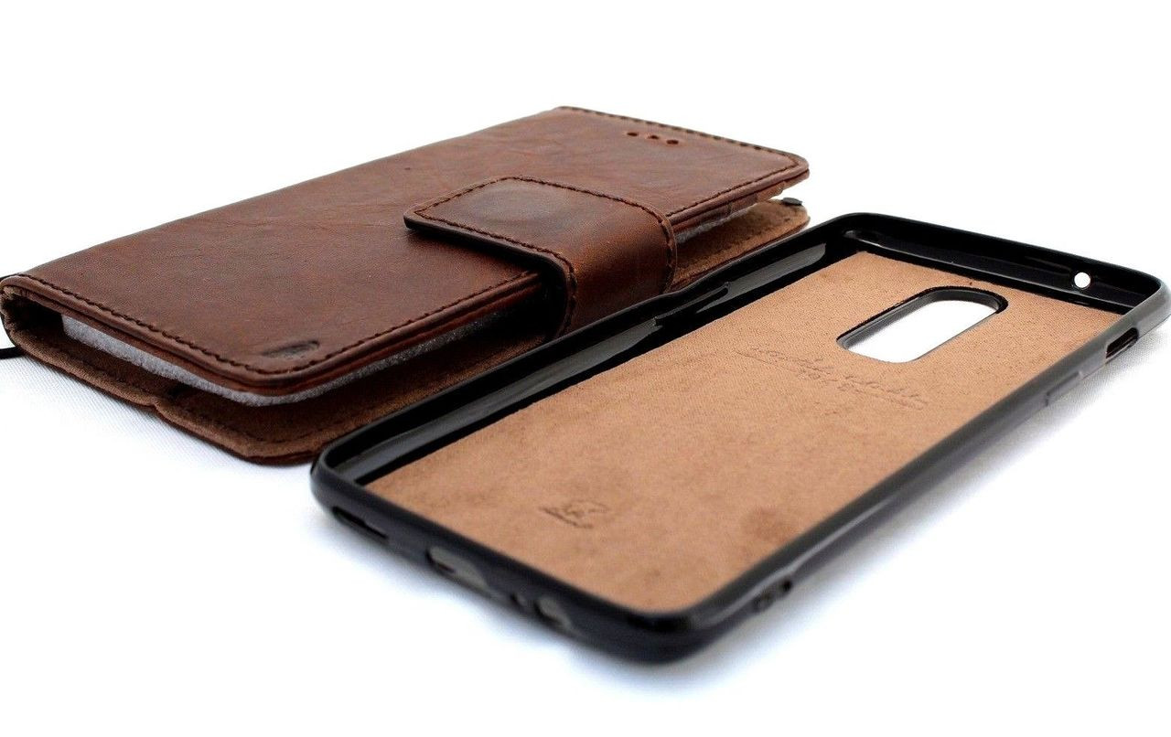 promo code 16b6c e6aee Genuine vintage leather case for oneplus 6 book wallet cover cards slots  slim handmade Removable style daviscase