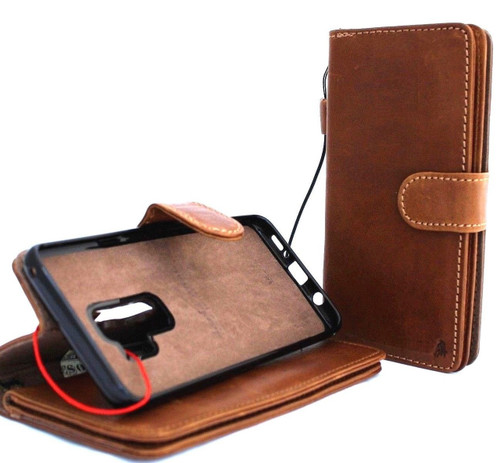 Genuine real leather Case for Samsung Galaxy S9 Plus Magnetic soft holder Removable vintage light brown daviscase & Jafo