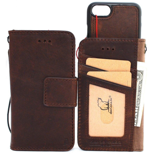 Genuine leather Case for iphone 8 book wallet magnet closure cover Removable 7 magnetic handmade vintage brown cards slots Jafo il