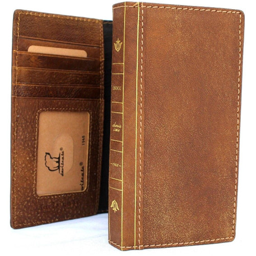 Genuine Leather Case for iPhone 8 Plus bible book wallet cover handmade cards slots Slim holder Jafo soft vintage classic Daviscase