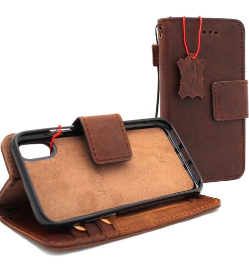 Genuine real leather Case for iPhone XS MAX vintage cover credit cards Removable detachable magnetic slots luxury holder lite Daviscase Jafo (IPXSMaxRJafo®) Art