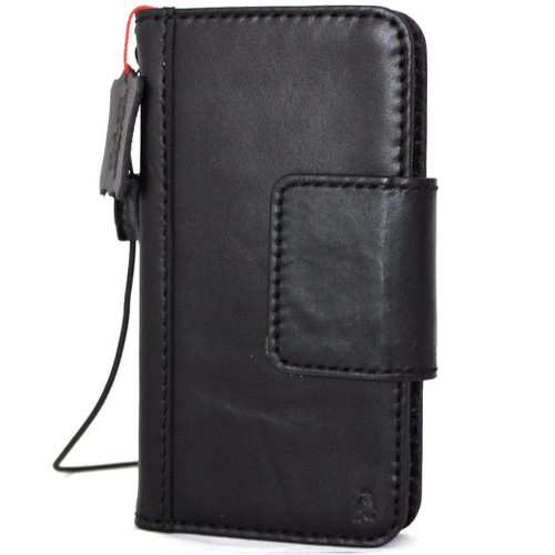 Genuine real leather Case for iPhone xs vintage cover credit cards magnetic slots luxury black Daviscase 10 holder