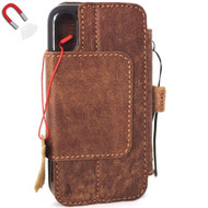 Genuine real leather Case for iPhone XS vintage cover credit cards Removable detachable magnetic slots luxury lite Daviscase 10 pro Jafo