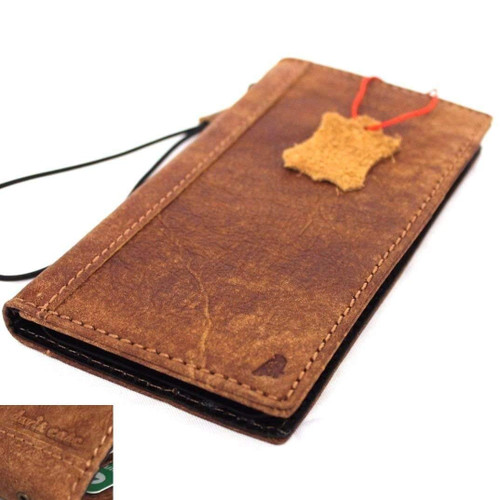 Genuine real leather Case for iPhone xs vintage cover credit cards book handmade luxury Tan Daviscase holder slim wireless charging Jafo