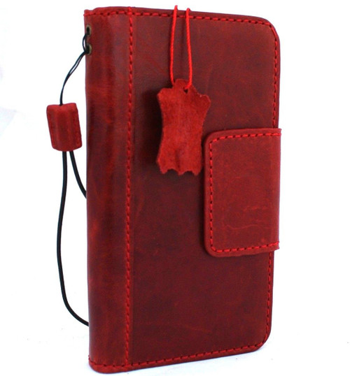 Genuine real leather Case for iPhone XS MAX vintage handmade Red wine cover credit cards classuc slots bibleTan book luxury holder lite Daviscase Jafo
