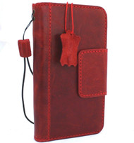 Genuine real leather Case for iPhone xs vintage book cover credit cards magnetic slots luxury lite Daviscase 10 cover holder Red wine  us