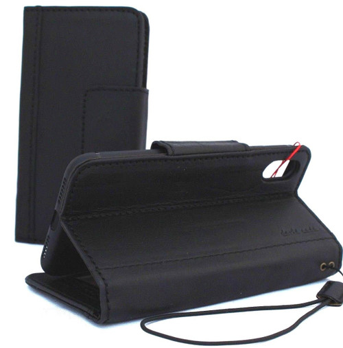 Genuine real leather Case for iPhone XS MAX vintage handmade black cover credit cards classuc slots bibleTan book luxury holder lite Daviscase JP