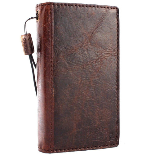 Genuine real leather Case for iPhone xs vintage cover credit cards slots holder luxury brown Daviscase 10  pro