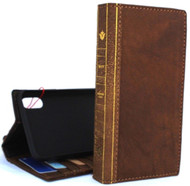 Genuine real leather Case for iPhone xs vintage cover credit cards bible book handmade  luxury Tan Daviscase holder slim wireless charging Jafo uk