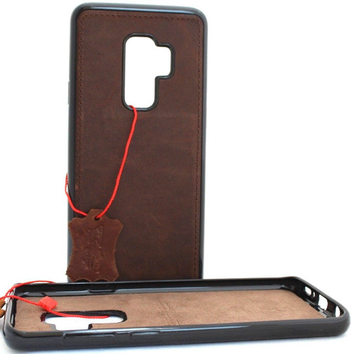 Genuine Tan vintage leather case for samsung galaxy s9 plus luxury cover slim Jafo soft rubber Holder Daviscase