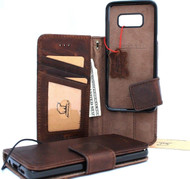 Genuine leather case for samsung galaxy s8 book wallet detachable cover soft vintage handmade cards slots IL slim Jafo