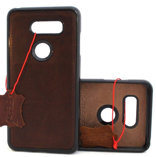 Genuine leather Case For for LG V40 magnetic soft holder cover luxury handmade art Retro daviscase