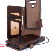 Genuine oiled leather Case For for LG V40 book Removable wallet magnetic detachable cover luxury cards slots handmade art brown daviscase