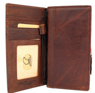 Genuine oiled leather Case for LG V40 book handmade wallet rubber holder cover luxury cards slots art dark brown daviscase pro