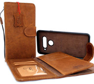 Genuine oiled leather Case For for LG V40 book Removable wallet magnetic detachable cover luxury cards slots handmade art Tan brown daviscase
