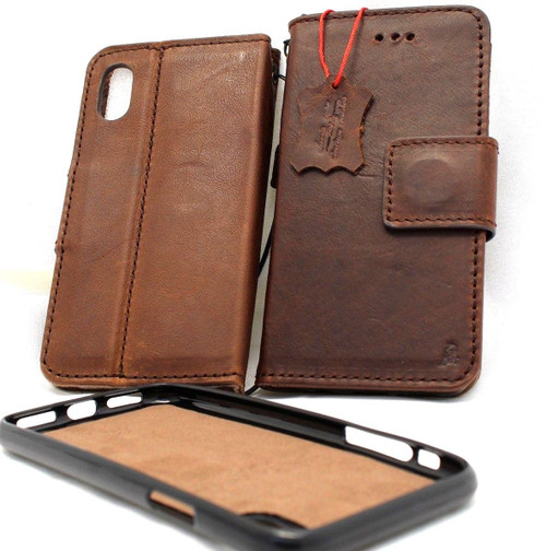 Genuine real leather Case for iPhone XR vintage cover credit cards Removable detachable magnetic slots luxury lite Daviscase Rustic Jafo fr