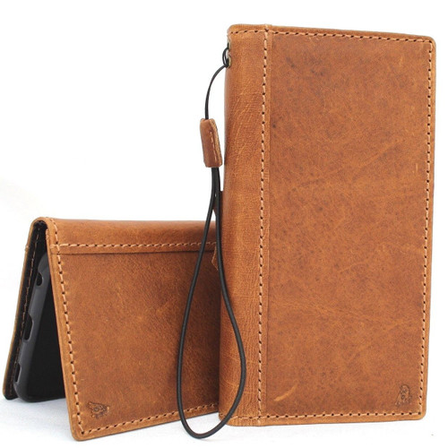 Genuine oiled leather Case for LG V40 book handmade wallet rubber holder cover luxury cards slots art dark brown daviscase 40 v l g uk