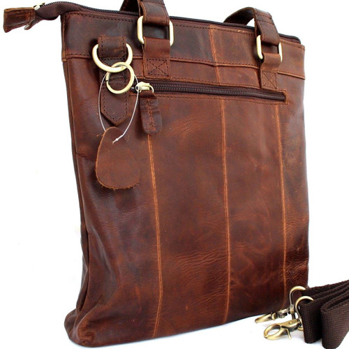 Genuine vintage Leather Shoulder Bag Messenger man handbag retro oiled tote fit laptop ipad tablet Art  de