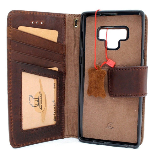 Genuine vintage leather case for samsung galaxy note 9 detachable book wallet cover soft holder Removable cards slots daviscase UK