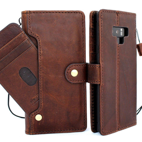 Genuine vintage leather case for Samsung Galaxy Note 9 book wallet closure cover luxury cards slots wireless charge  jafo
